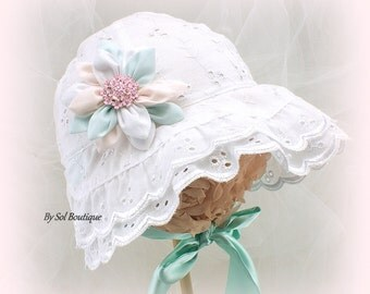 Sun Hat, Baby Girl, White, Pink, Turquoise, Cream, Eyelet Hat, Christening Hat, Girl Hat, Baby, Baby Bonnet, Eyelet Bonnet, Crystals, Brooch