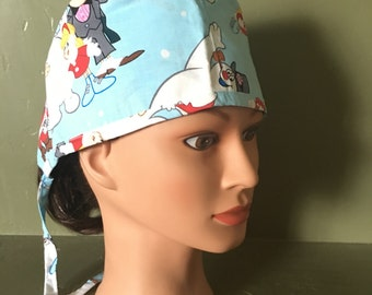 Male scrub cap with ties christmas