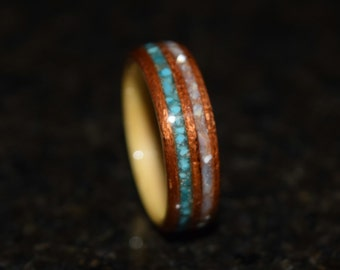 READY TO SHIP size 9.5 Hand Made (Bentwood Method) Beech wrapped in Spanish Cedar double inlayed Turquiose and Mother of Pearl Wooden Ring