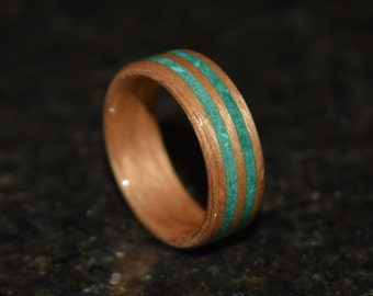 20%Off READY TO SHIP size 10.5 Hand Made (Bentwood Method) Cherry with Sleeping Beauty Turquoise Double Inlay Wooden Ring
