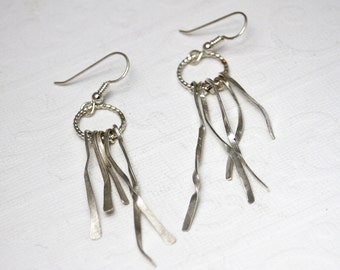 Silver shreds earrings, dangle earrings, drop earrings, chandelier earrings, silver earrings, women, eco friendly, gift, bridesmaid gift