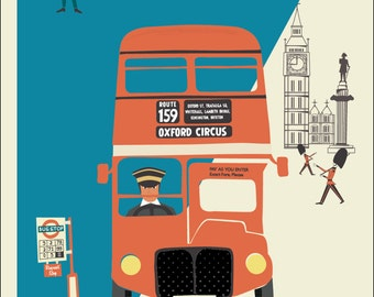 A3 London Red Bus Poster Print