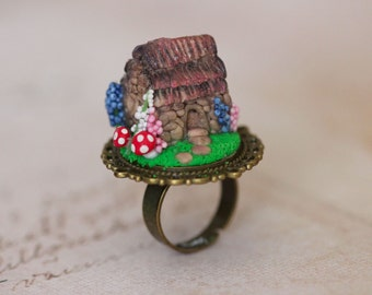 Fairy Tale Ring - Fairy House  Ring - Woodland Jewelry- Polymer Clay Ring -  fairy Tale Jewelry - Toadstool Jewelry -  kawaii ring