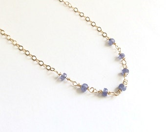 Tanzanite Faceted Rondelle 14kt Gold Filled Wire Wrapped Necklace December Birthstone Petite Jewelry