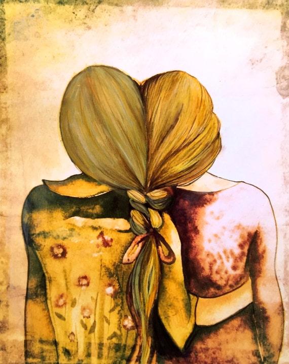 blonde and golden  blonde hair sister best friend art print