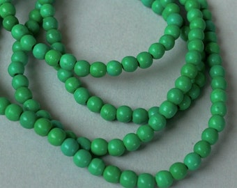 25 Dark GREEN 4mm Natural Chalk TURQUOISE Beads - Round Opaque Natural Gemstone Bead - Instant Shipping - USA Seller - 5380