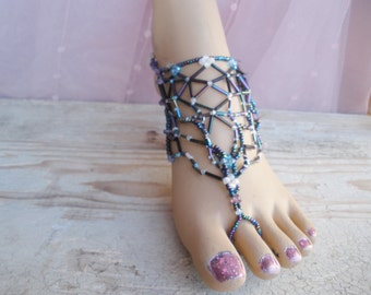 Barefoot Sandals, Beaded Foot Jewelry, Beach Jewelry, Boho Beach Sandals,Beaded Ankle Jewelry