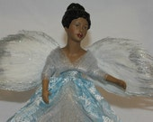 African American Angel Tree Topper, Christmas Tree Topper, Christmas Angel. Holiday Deco, Christmas