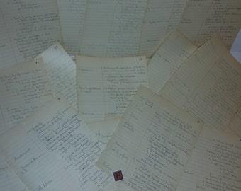 E Vintage handwritten notes ephemera paper supplies 10 book pages columns ephemera lot art scrap