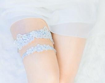 Lace Garter, Wedding Garter -Something Blue - Wedding Garter Set, Wedding Garter, White Lace, Blue lace band, Bridal Shower Gift, Lingerie