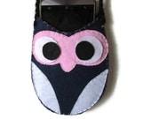 Owl iPhone Plus Case Elegante neck / crossbody Large Smartphone Purse stylish cell phone sling bag Handmade felt fabrics Cover Navy Blue