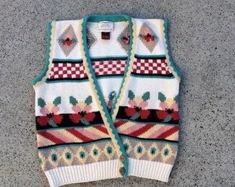 Womens knitted white flower sweater 90s vest size medium