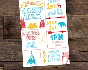 Printed First Birthday Invitations - Camping Birthday Party - Outdoors Birthday - Adventure Party