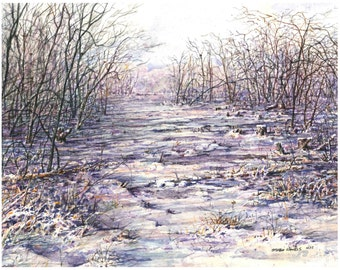 Winter Warmth  - FREE SHIPPING - Art Print - Watercolor by Steven Hawkes