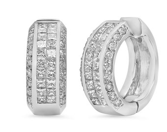 Sparkling Diamond Hoop Earrings in 14k White Gold 2.61 ct wt | ready to ship!