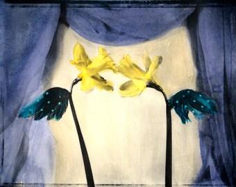 Theatrical Dandelions Mixed Media Painting - 8x10 - Original Fine Art