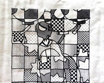 DIY coloring in canvas tote bag - Geisha girl