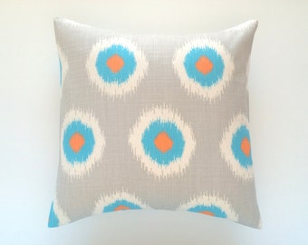 CLEARANCE 50% OFF Decorative Throw Pillow Cover. 18X18 inches. Mandarin Orange, Turquoise, Grey Floral Ikat Dots