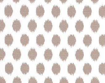 Ecru Ikat Polka Dots Curtains. Pair of 2 Drapery Panels. Taupe-Tan Ikat Spots. Bedroom Window Treatments.