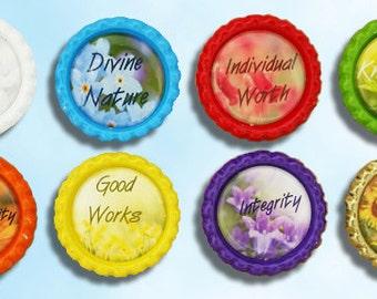 LDS Young Women Values, religious, mormon,  bottle cap magnets
