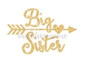 Big Sister Gold Glitter DIY Iron on T Shirt Transfer Sparkly Tribal Arrow Heart (Big Sister Gold Glitter Arrow)