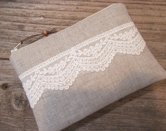 Quilted zipper pouch inlinen and lace padded cosmetic bag quilted make up bag zipper pouch or smaller wallet handmade pouch for camera