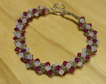 Bead Woven Swarovski Crystal Bracelet Pink White and Silver
