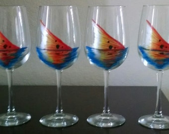 Red Tail fish tail hand painted wine glasses