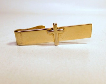 Vintage ROBBINS Co. CROSS Tie Bar Clip - Attleboro - Signed - Gold Tone