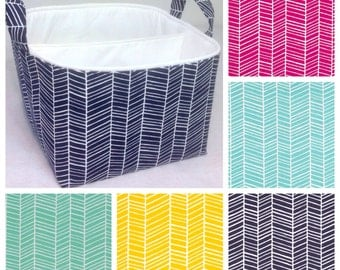 "Customize Diaper Caddy 10""x10""x7"" Fabric Storage bin, Fabric Organizer Choose Herringbone and Lining Colors"