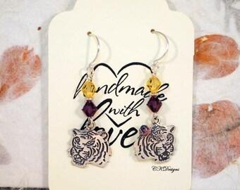 Tiger Earrings,  Sterling Silver Tiger Earrings, Swarovski Dangle Pierced Earrings, Gift For Her, Football Fan Earrings