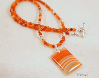 Carnelian Beaded Pendent Necklace, Carnelian and Silver Necklace, Gift for Her, OOAK Handmade Necklace. CKDesigns.US