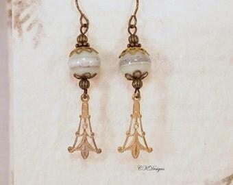 Victorian Style Earrings,  Estate Style Earrings,  Lampwork Glass Dangling Beaded Pierced or Clip-on Earrings. CKDesigns.us