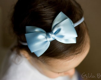 Baby Pastel Blue Emma Bow Clip OR Headband - Flower Girl - Baby Satin Bow - Girls Satin Bow - Bun Hair Bow - Baby to Adult Headband