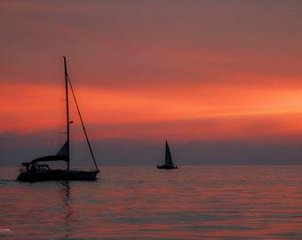 Anchored Sunset 8 X 10 Fine Art Print