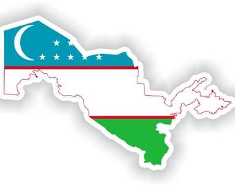 Uzbekistan Map Flag Silhouette Sticker for Laptop Book Fridge Guitar Motorcycle Helmet ToolBox Door PC Boat