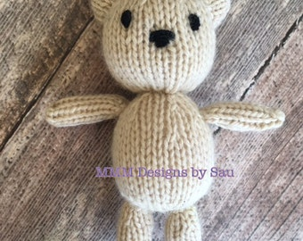 PDF Knitting Pattern - newborn photography prop my first Teddy #140