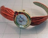 Vintage 1990's Large Facet Crystal Christmas Watch. Swiss Made Parts with Miyota Japanese Battery Mvt.  Red Leather Band.