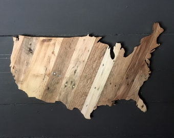 LARGE United States Plaques made from strips of Reclaimed Wood. With Gold Edging