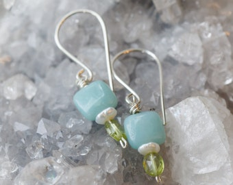 Square Blue Amazonite and Apple Green Earrings