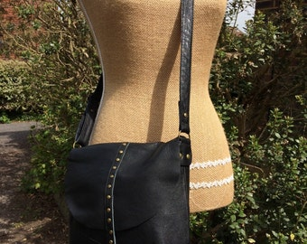Recycled leather bag- black soft leather - a crossbody - purse/handbag - adjustable strap.