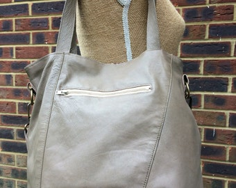 Sale recycled leather bag - Hobo style bag made with mushroom/taupe leather-detachable adjustable strap.