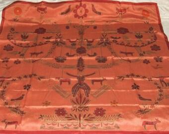 Vintage Vera Neumann Pure Silk Handscreened Folk Art Scarf