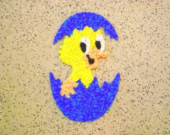 Melted Plastic Popcorn Easter Duck Chickie Egg Blue Vintage - Wall window hanging decoration Art