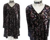 Velvet Grunge Floral Long Sleeved 90's Bohemian Babydoll Dress
