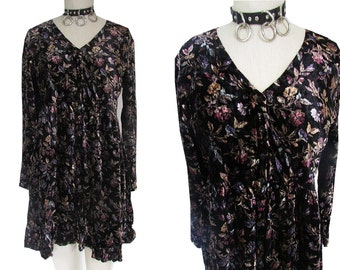 Velvet Grunge Floral Long Sleeved 90's Bohemian Babydoll Dress