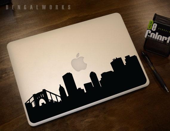Pittsburgh Skyline Macbook Decal 1   Macbook Sticker   Laptop Decal   Laptop Sticker   Car Sticker