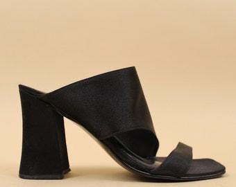 90s Vtg  Black SILK Satin Textile MINIMALIST Mule Platform Slide Sandals / Chunky Heel Open Toe Cage Avant Garde Goth Sleek / 6 6.5 Eu 36