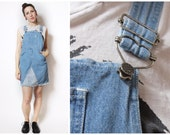 90s Skirt Denim Overalls with Heart Clasps Small