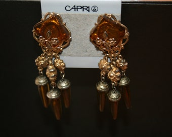 Vintage 70's Post Earrings - Goldenrod with an Egyptian Feel